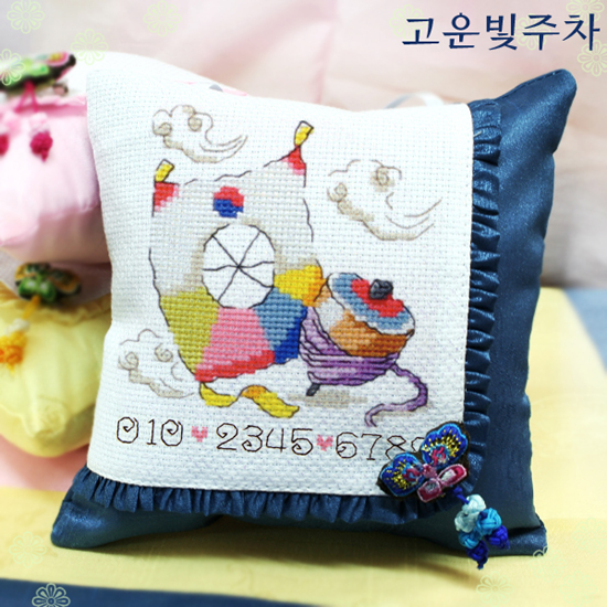 Sodastitch Indonesia CUS-YD-5120-1 - Blue Wrinkled Cushion With Pinned Butterfly