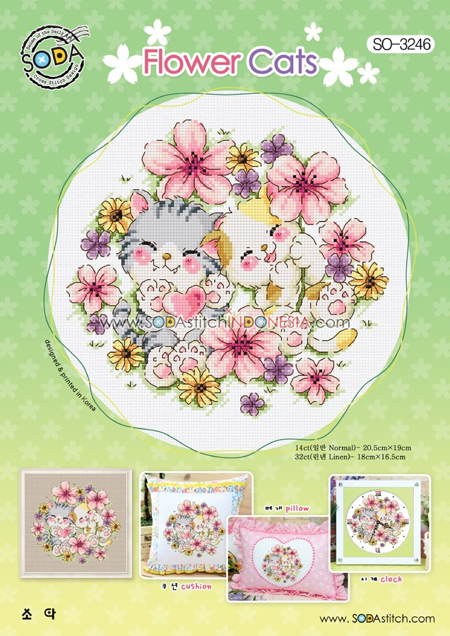 Sodastitch Indonesia PKT-SO-3246 - Paket Flower Cats