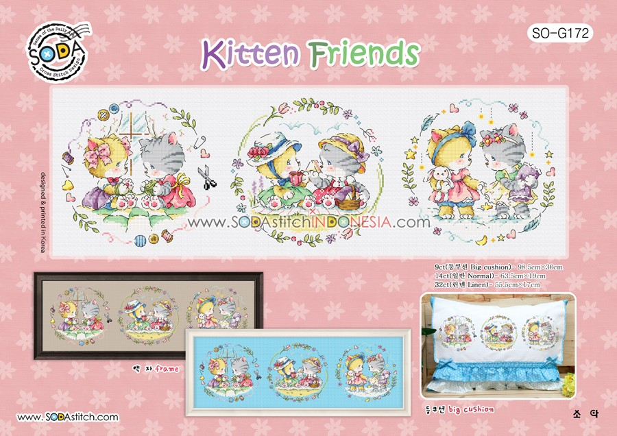Sodastitch Indonesia SO-G172 - Pola Sodastitch - Kitten Friends